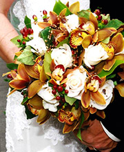 Couple Holding Bridal Bouquet